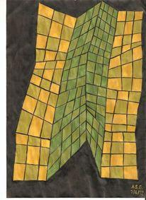 Kachel, Grün, Acrylmalerei, Knick