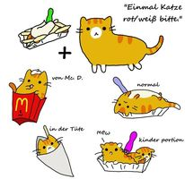 Comic, Katze, Rot, Weiß