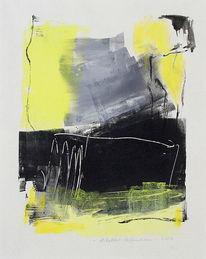 Schwarz, Gelb abstrakt, Grau, Malerei