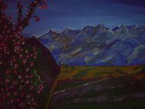 Berge, Blüte, Kreta, Malerei