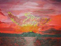 Insel, Sonnenuntergang, Meer, Malerei