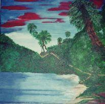 Hawaii, Palmen, Strand, Malerei