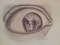 Augen, Zeichnungen, Portrait, Spiegelbild