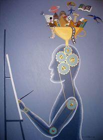 Kreativ, Blau, Wissen, Gold