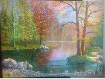 See, Spiegelung, Natur, Malerei