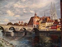 Malerei, Regensburg, Brücke