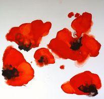 Ölmalerei, Mohn, Abstrakt, Rot