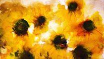 Ölmalerei, Gelb, Sonnenblumen, Sommer