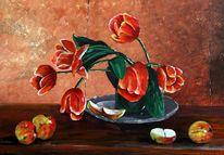 Stillleben, Malerei, Blumen, Tulpen