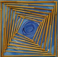 Mond meer, Bambus blau, Tunnel blau, Malerei