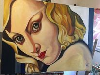 Gemälde, Leinen, Frau, Blick