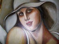 Portrait, Hommage, Mohnblumen, Frau hut