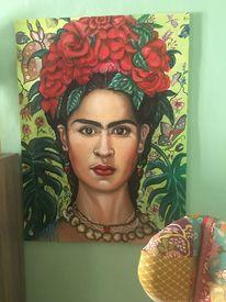 Blaues kleid, Hommage, Frida kahlo, Portrait