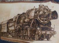 Brandkunst, Dampflokomotive, Malerei, Brandmalerei