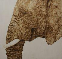 Holz, Elefant, Pyrografie, Brandmalerei