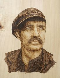 Pyrografie, Holz, Portrait, Sean connery