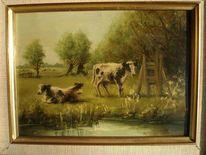 Meester, Kühe am weiher, Malerei, Weiher