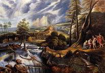 Reproduktion, Ölmalerei, Regenbogen, Landschaft