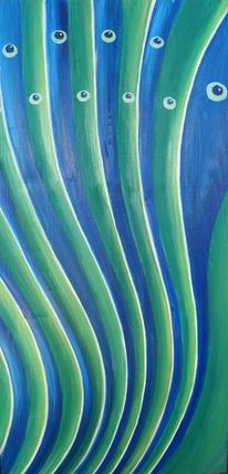 Welle, Blau, Grün, Feder