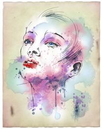 Illustration, Mode, Aquarellmalerei, Mixedmedia