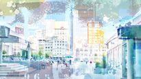 Blau, Usa, Collage, Innenstadt