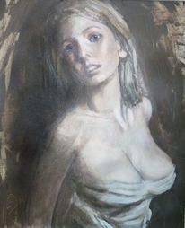 Acrylmalerei, Akt, Frau, Lasziv
