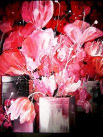 Malerei, Blumen, Rot, Arrangement