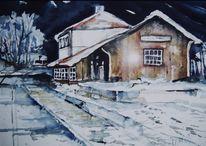 Aquarell, Landschaft, Bahnhof, Nacht