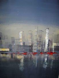 Skyline, Blau, Acrylmalerei, Malerei