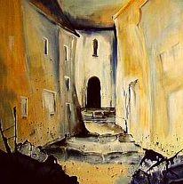 Malerei, Landschaft, Gasse
