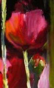 Blumen, Acryl auf leinwand, Malerei, Mohn