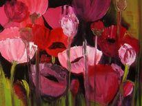 Mohnfeld, Malerei, Blumen