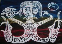 Menschen, Keltische, Acrylmalerei, Abstrakt