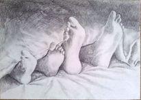Fuß, Decke, Bett, Zeichnungen