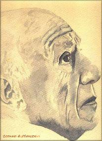 Gesicht, Picasso, Aquarellmalerei, Malerei