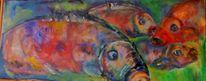 Wasservermischbare ölfarben, Fisch, Bunt, Malerei