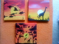Afrika, Gelb, Orange, Giraffe