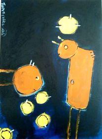 Blau, Gelb, Nachtgedanken, Malerei