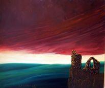 Malerei, Ruine, Abendhimmel