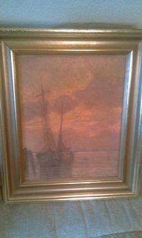 Boot, Schiff, Lein, Ölmalerei