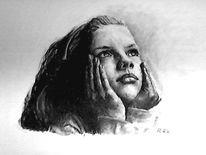 Kohlezeichnung, Daydreams, Zeichnung, Portrait