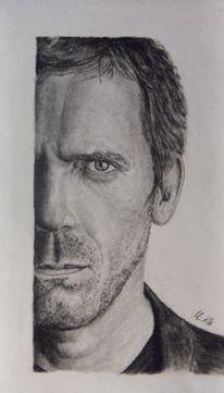 Portrait, Schauspieler, Kohlezeichnung, Zeichnungen