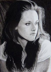 Zwielicht, Kohlezeichnung, Saga, Portrait