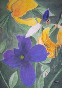 Blumen, Malerei, Pflanzen, Clematis