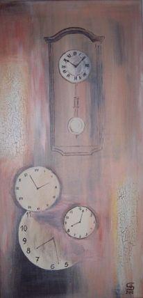 Uhr, Wanduhr, Zeit, Malerei