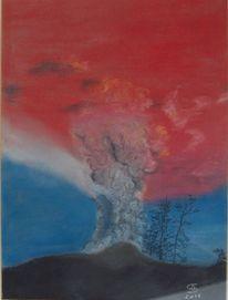 Pastellmalerei, Vulkan, Naturgewalt, Malerei