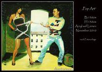 Menschen, Modern, Acrylmalerei, Popart
