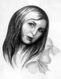 Portrait, Schmetterling, Frau, Zeichnung