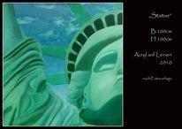 Amerika, Leinen, Acrylmalerei, New york