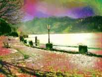 Winter, Strandpromenade, See, Berge